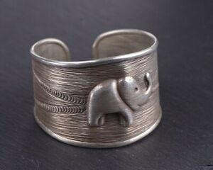 527f75c451e01 Details about 925 sterling Silver cute elephant cuff bangle Bracelet S2820