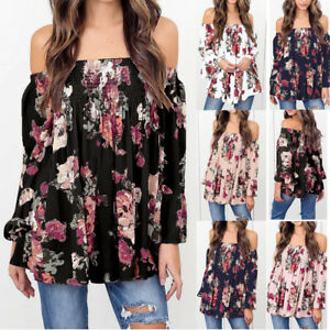 57fac79814a Women Long Sleeve T Shirt Floral Tunic Tops Off Shoulder Flare ...