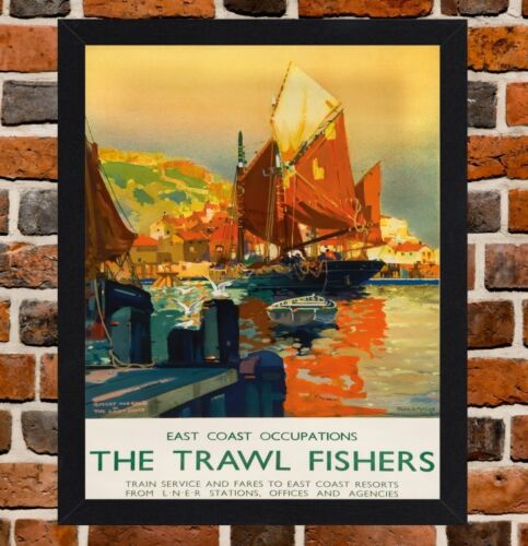Framed The Trawl Fishers Railway Travel Poster A4//A3 Size In Black//White Frame
