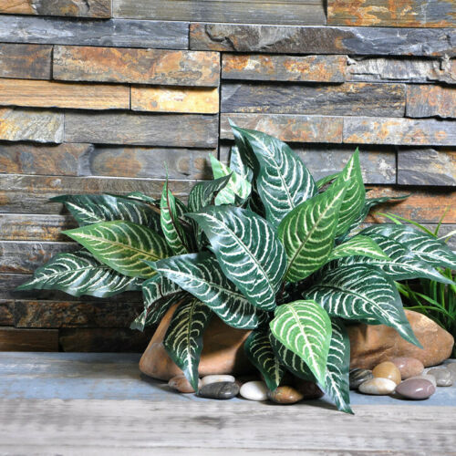 2Pcs Zebra Leaf Artificial Plants Fake Green Leaf Flowers Home Party Decor 40cm