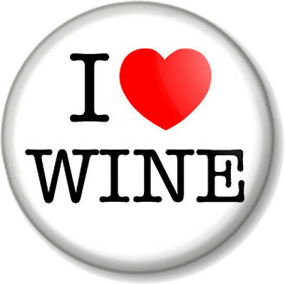 """I Love / Heart WINE 1"""" 25mm Pin Button Badge favourite drink booze alcohol beer"""