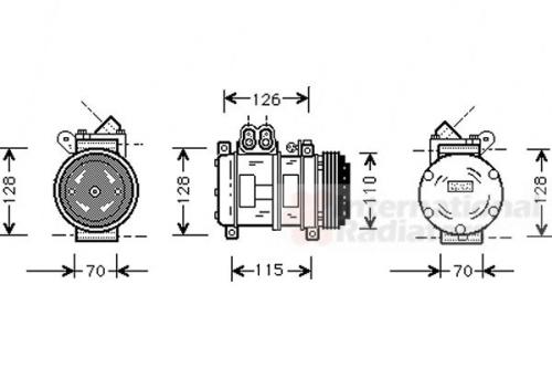 Kompressor, Klimaanlage für Klimaanlage VAN WEZEL 0600K229