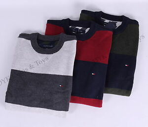 Tommy-Hilfiger-Men-Stripe-Crew-Neck-Sweater-Classic-Fit-Free-0-Shipping