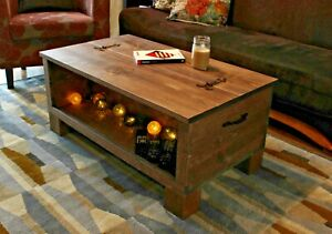 Rustic Wooden Chest Trunk Blanket Box
