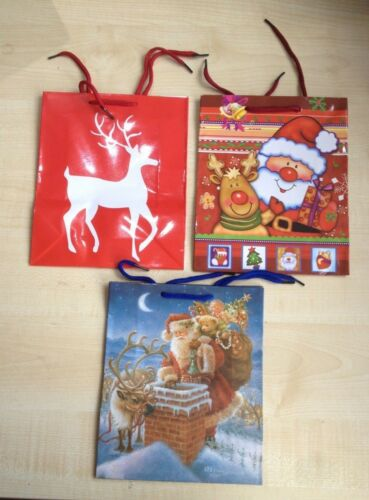 3 Different Designs Pack of 3 Medium Size Multi Coloured Christmas Gift Bags