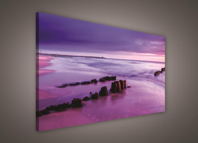 LEINWAND BILD WANDBILD BILDER (PP424O1) Sonnenuntergang Strand Meer 100x75cm