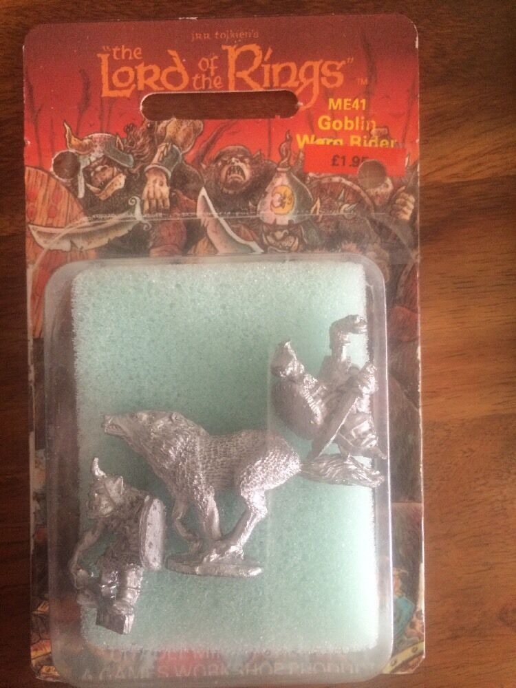 LOTR ME41 Goblin Warg Rider  Ft And Mounted Citadel New OOP Games Workshop