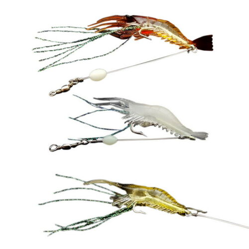 Soft Fishing Luminous Shrimp Lure with Hook Swivel Artificial Silicone Glow Bait