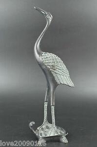 Decorated-Bronze-Carve-VividTurtle-Carry-Crane-Stand-For-Longevity-Rare-Statue