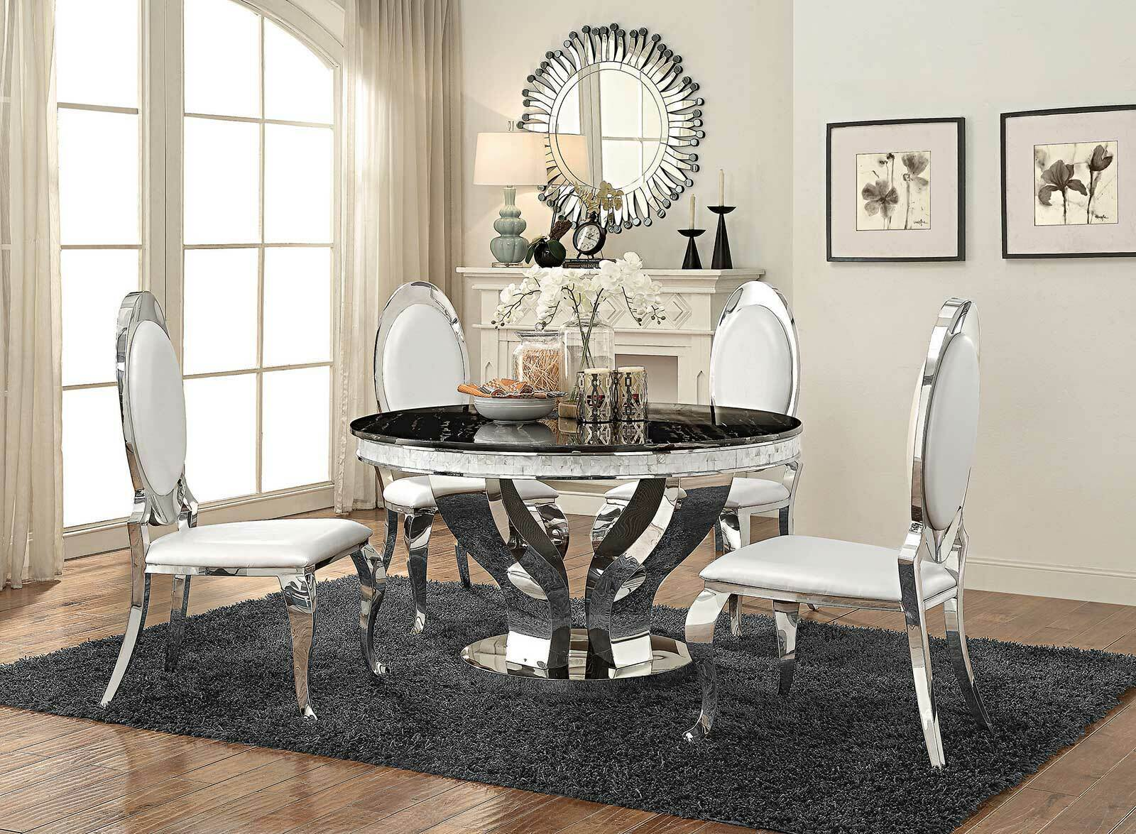 Modern Dining Room Furniture 5 Piece Round Mirror Table White Chairs Set Ic73 For Sale Online