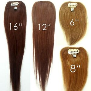 100-Human-Hair-Straight-Clip-in-Piece-Filler-Seamless-Add-On-Bangs-Topper-6-16-034