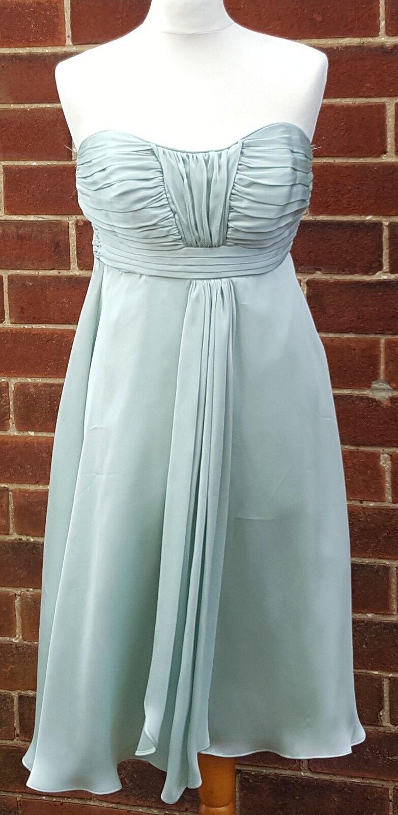 Debenhams Debut Damen Trägerlos Blassgrün Polyester Knielang Kleid UK 10