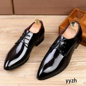 Mens Formal Patent Leather Lace up Pointy Toe Shiny Business Dress Shoes New