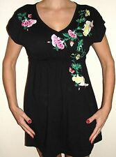 """Johnny Was JWLA black dress or tunic S 36"""" Bust embroidered flora + butterfly"""