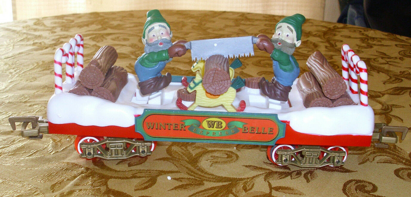 Vintage Train Car by New Bright   Winter Bells  Elfs Sawing 13  X 4 G Scale 1988