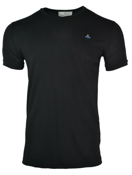 Avoir Un Esprit De Recherche Vivienne Westwood Classic Black T-shirt Embroidered Orb Chest Logo Slim Fit Limpide à Vue
