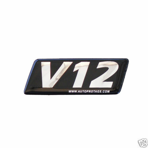 V12 Emblems Set of Two -Incredible POWER for ALL Vehicles Trucks Boats Cars