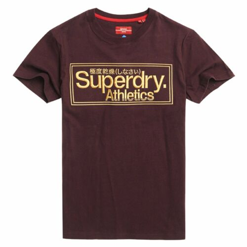 Superdry CL Ath Logo Embroidery T-Shirt Burgundy YFY