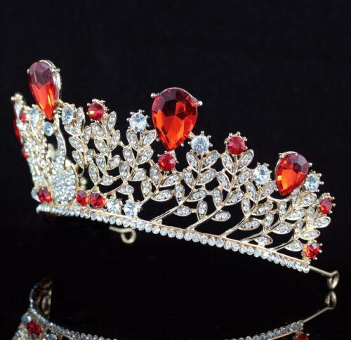 Swan Royal Red Austrian Crystal Rhinestone Tiara Crown Bridal Wedding Prom T68r