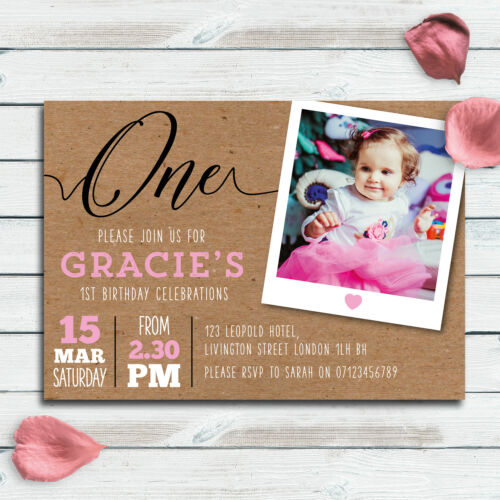 1st Birthday Party Invitations Pack of 10 A6 cards Kraft theme