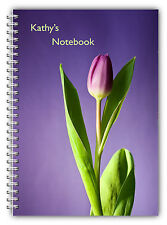 NEW A5 FLOWER TULIP PURPLE NOTEBOOK STANDARD 50 LINED BLANK PAGES NOTE PAD/ 01