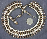 Real Nice Vintage 1940's-50's Rhinestone & Iridescent Amber Glass Beads Necklace