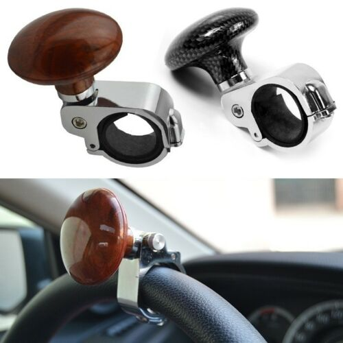 Carbon Effect Look Car Van Steering Wheel Knob Handle Black Spinner Turning Ball