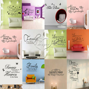 Family-DIY-Removable-Art-Vinyl-Quote-Wall-Stickers-Decal-Mural-Home-Kids-Decor