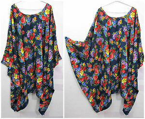 Lagenlook-Kaftan-Beach-Hippie-Dress-Angel-sleeve-Size-20-22-24-26-28-30-32-zzz21