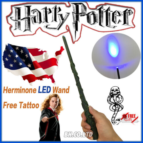 """Harry Potter 13.4/"""" Hermione Magical Wand Replica LED Light Up In Box Free Tattoo"""