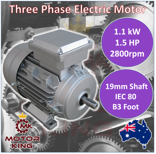 1.1kW 1.5HP Three-phase 2800rpm Electric Motor 19mm Shaft 415v B3 Foot Mount