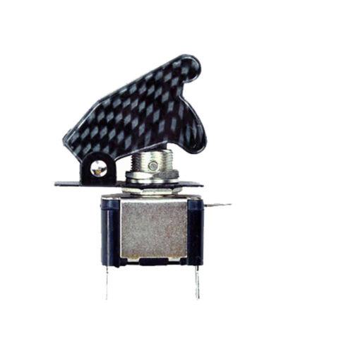 5 X DIY Car 12V 20A Green LED Light Carbon Fiber SPST Rocker Toggle Switch