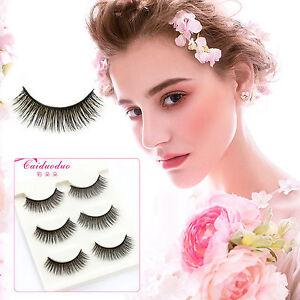 ae7f7b57bac Details about Long Thick Cross 3 Pairs Makeup Beauty False Eyelashes Eye Lashes  Extension