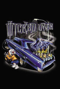 b603 Wicked One Lowrider Street Racing Car Nitrous Oxide on Fire Urban Art NOS