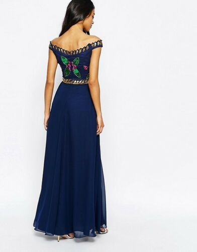 Dress Shoulder Prom 38 Blue Occasion Drop Virgos Party Cocktail 10 Lounge Bardot RqnAa