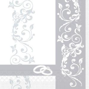 Serviette-Hochzeit-in-Silber-aus-Tissue-33-x-33-cm-100-Stueck