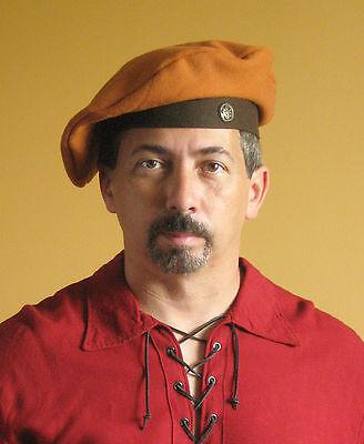 Medieval Celtic Renaissance Tudor Larp SCA Beret Hat (2 Tones) Deluxe