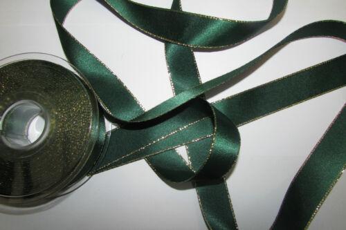 Double Face Satin Ivoire Blanc Rouge Vert ruban avec LUREX GOLD EDGE