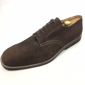 NORDSTROM-Buck-Men-039-s-Brown-Suede-Derby-Lace-Plain-Cap-Shoes-19-M-NEW
