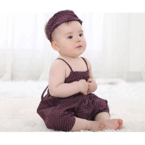 2 Pcs Polka Dot Baby Girl Clothing Set Romper Headband Kids Clothing For Summer