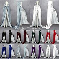 White Silk Medieval Wedding Cape Halloween Velvet Hood Cloak Wicca Stock S-6XL