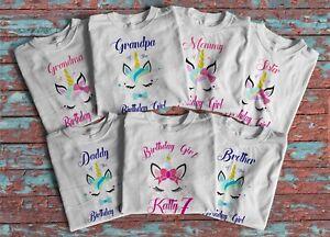 dde414ee Image is loading Unicorn-Face-Birthday-Girl-shirt-Customized-Family -matching-