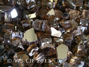 "1/2"" Chunky Copper Reflective Fireglass Fireplace Glass Rocks Fire Pit Crystals"