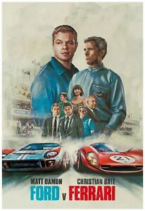 "2019 Ready To Frame Ford Vs Ferrari Poster 24x36/"" Wall Art Print"