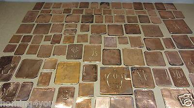 ANTIKE Buchstaben Kupfer Schablone Merkenthal Monogramm Stickerei 100 St/ 1900