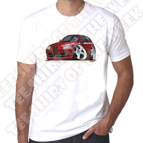 Wickedartz cartoon voiture rouge alfa romeo 147 homme 100/% coton t-shirt blanc