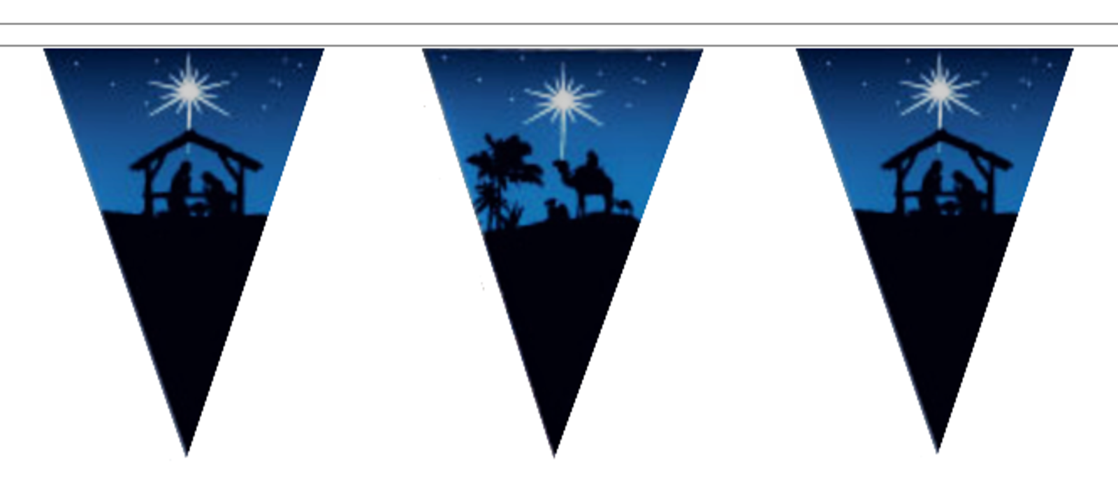 Christmas Polyester Bunting - 20m with 48 Flags - Star Star Star of Bethlehem & Nativity 06a4be