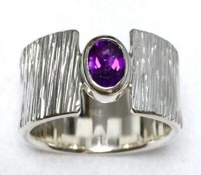 Gewidmet Ring Solitär Silber 925 + Amethyst 0.62ct. Handarbeit Eigene Silberschmiede