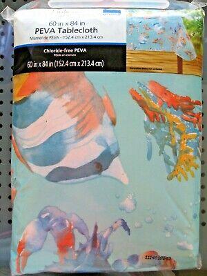 "Vinyl Tablecloth w Flannel Backing 60/"" x  84/""   Sea Life  FISH CRAB Ocean"