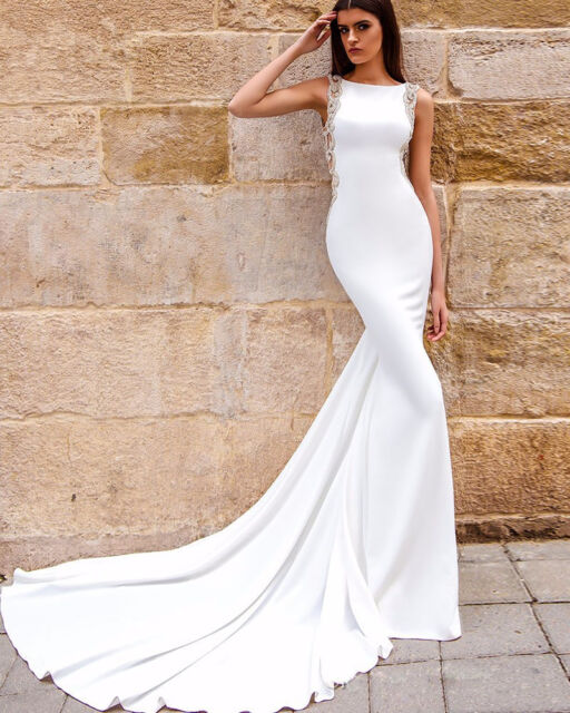 Backless Trumpet Bridal Gowns Mermaid Beaded White Satin Wedding Dresses